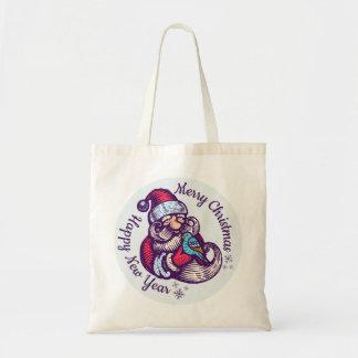 Vintage Christmas tote bag with Santa Claus
