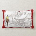 Vintage Christmas Town Lumbar Pillow