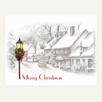 Vintage Christmas Town Postcard