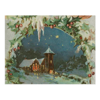 Vintage Christmas Town with Children Postcard