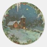 Vintage Christmas Town with Children Round Sticker