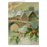 Vintage Christmas Town with Holly Card
