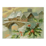 Vintage Christmas Town with Holly Post Cards