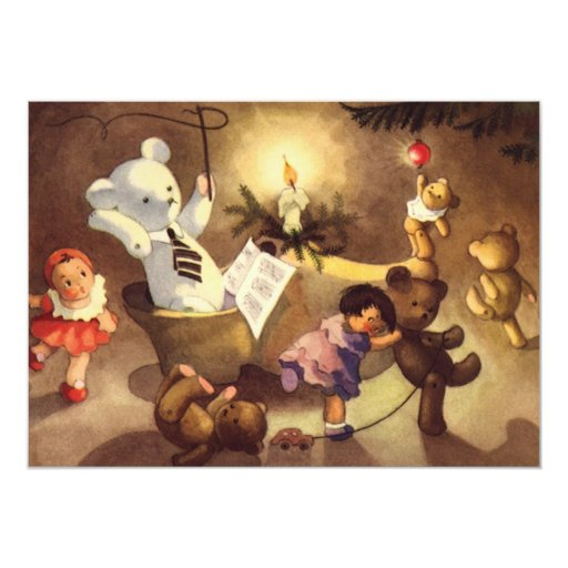 Vintage Christmas Toys, Dancing Dolls, Teddy Bears 5x7 Paper Invitation Card