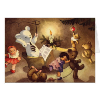 Vintage Christmas Toys, Dancing Dolls, Teddy Bears Card