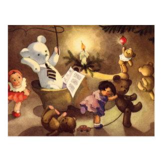 Vintage Christmas Toys, Dancing Dolls, Teddy Bears Postcard