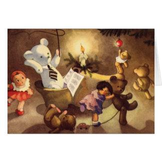 Vintage Christmas Toys Dancing, Teddy Bears, Dolls Greeting Card
