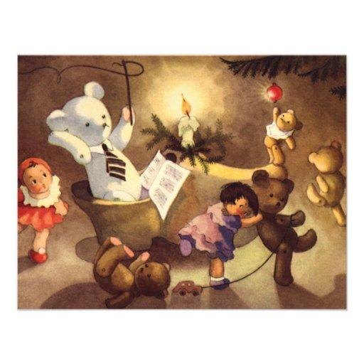 Vintage Christmas Toys Dancing, Teddy Bears, Dolls Invite