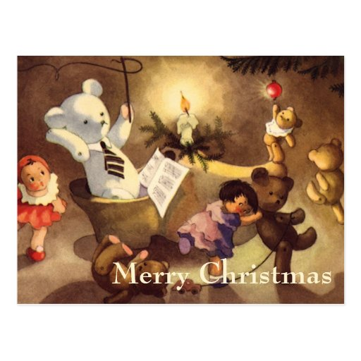 Vintage Christmas Toys Dancing, Teddy Bears, Dolls Postcard