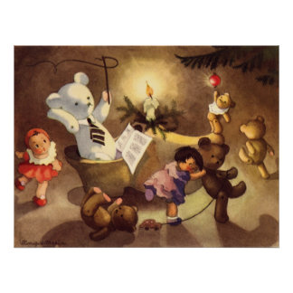 Vintage Christmas Toys Dancing, Teddy Bears, Dolls Poster