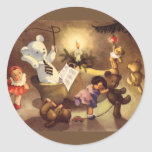 Vintage Christmas Toys Dancing, Teddy Bears, Dolls Round Stickers