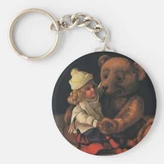 Vintage Christmas Toys, Doll and a Teddy Bear Keychain