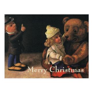 Vintage Christmas Toys, Doll and a Teddy Bear Postcard