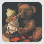 Vintage Christmas Toys, Doll and a Teddy Bear Square Sticker