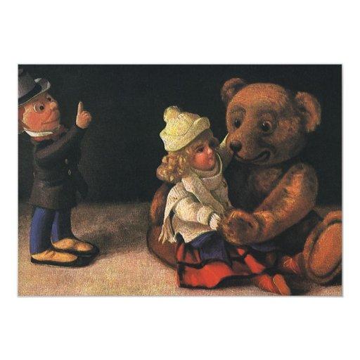 """Vintage Christmas Toys, Doll and Teddy Bear 5"""" X 7"""" Invitation Card"""