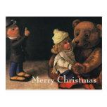 Vintage Christmas Toys, Doll and Teddy Bear Postcard