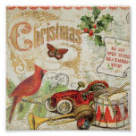 Vintage Christmas Toys Poster