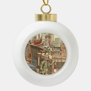Vintage Christmas Toyshop Ceramic Ball Christmas Ornament at Zazzle