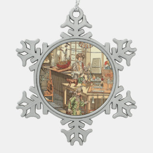 Vintage Christmas Toyshop Snowflake Pewter Christmas Ornament at Zazzle