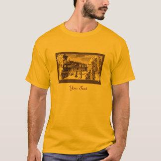 Vintage Christmas Train Sepia Snowflakes T-Shirt