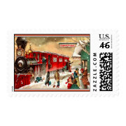 Vintage Christmas Train Station Postage