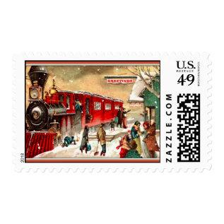 Vintage Christmas Train Station Postage at Zazzle