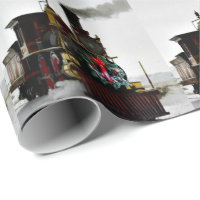 Vintage Christmas Train Wrapping Paper, 30