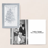 Vintage Christmas Tree and Add Your Photo, ZSSPG Foil Card