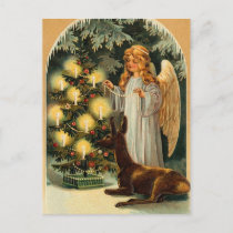 Vintage Christmas Tree and Angel Holiday Postcard