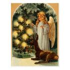 Vintage Christmas Tree and Angel Postcard