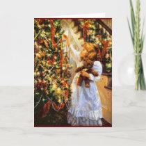 Vintage Christmas Tree and Girl Card