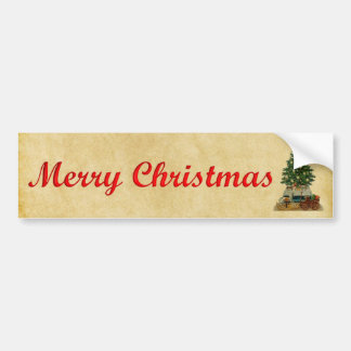 vintage christmas tree and toys bumper sticker