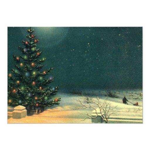 Vintage Christmas Tree at Night Invitation