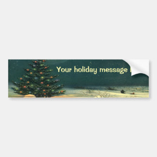 Vintage Christmas Tree at Night, Snowscape Bumper Stickers