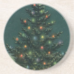 Vintage Christmas Tree at Night, Snowscape Coasters