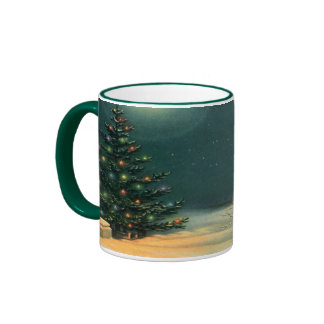 Vintage Christmas Tree at Night Snowscape Coffee Mugs