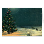 Vintage Christmas Tree at Night, Winter Snowscape Greeting Cards