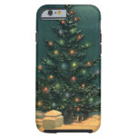 Vintage Christmas Tree at Night, Winter Snowscape iPhone 6 Case