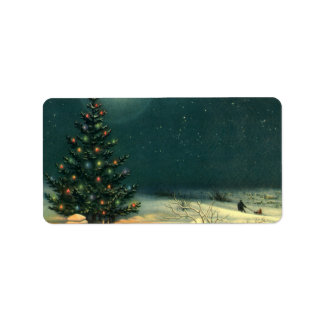 Vintage Christmas Tree at Night with Lights Label