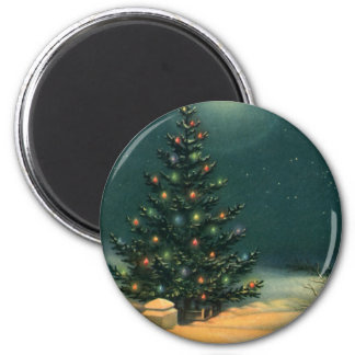 Vintage Christmas Tree at Night with Lights Magnet
