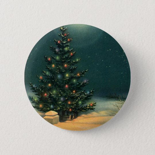 Vintage Christmas Tree at Night with Lights Pinback Button