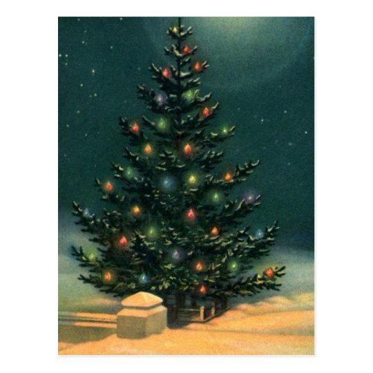 Vintage Christmas Tree at Night with Lights Postcard