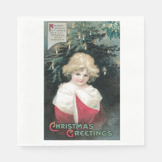 Vintage Christmas Tree Blessing Card Candles Paper Napkin