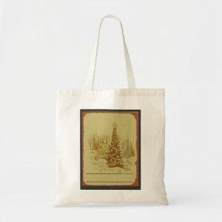 Vintage Christmas Tree Canvas Bag