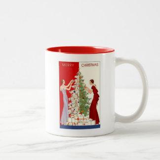 Vintage Christmas tree card mug