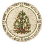 Vintage Christmas Tree Classic Round Sticker
