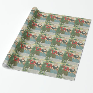 Vintage Christmas tree cutting children Wrapping Paper