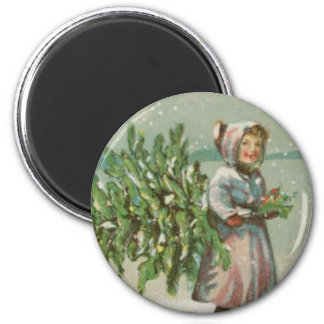 Vintage Christmas Tree cutting Magnet