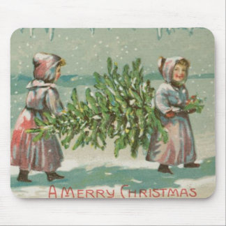 Vintage Christmas Tree cutting Mouse Pad