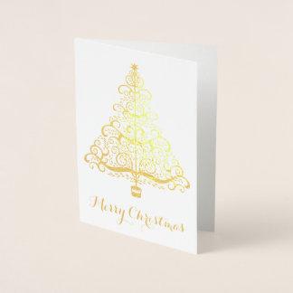 Vintage Christmas Tree Decorative Victorian Scroll Foil Card